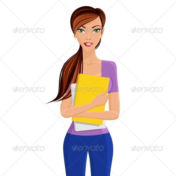 GraphicRiver Student Girl Holding Folder 7842871