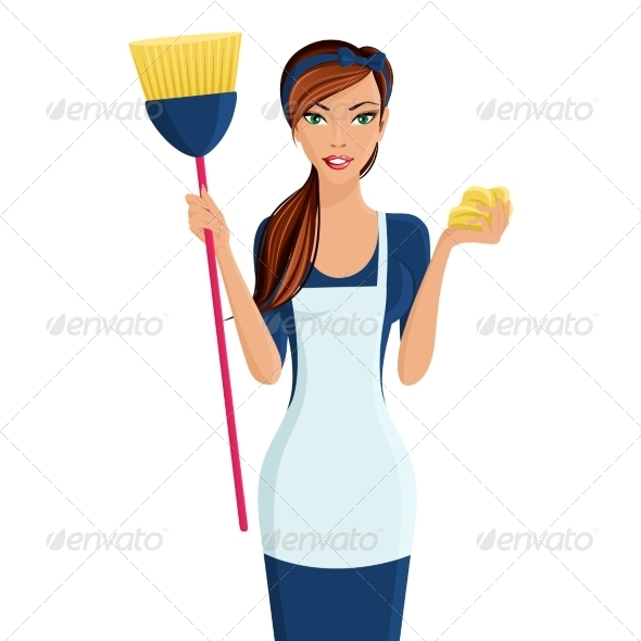 GraphicRiver Young Woman Cleaner 7842874