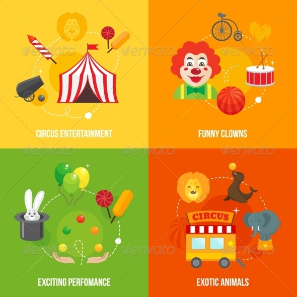 GraphicRiver Circus Retro Icons Set 7842885