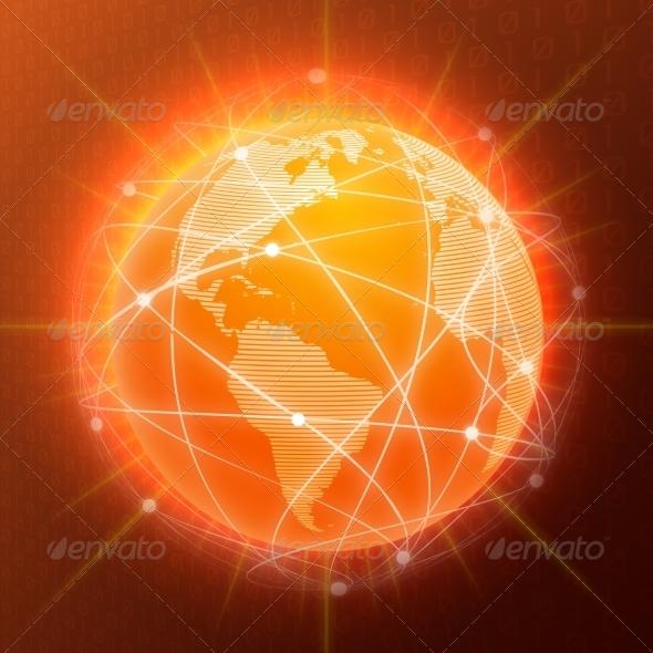 GraphicRiver Network Globe Concept Orange 7842914