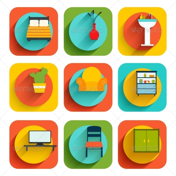GraphicRiver House Interior Furniture Icons 7842916