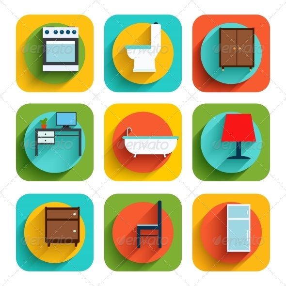 GraphicRiver House Interior Furniture Icons