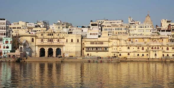 View Of Udaipur Rajasthan Rising From Above Water