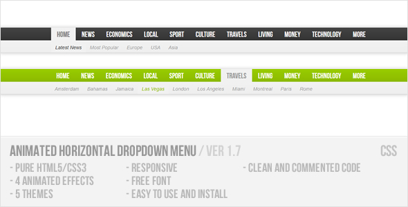 Animated Horizontal Dropdown Menu - CodeCanyon Item for Sale