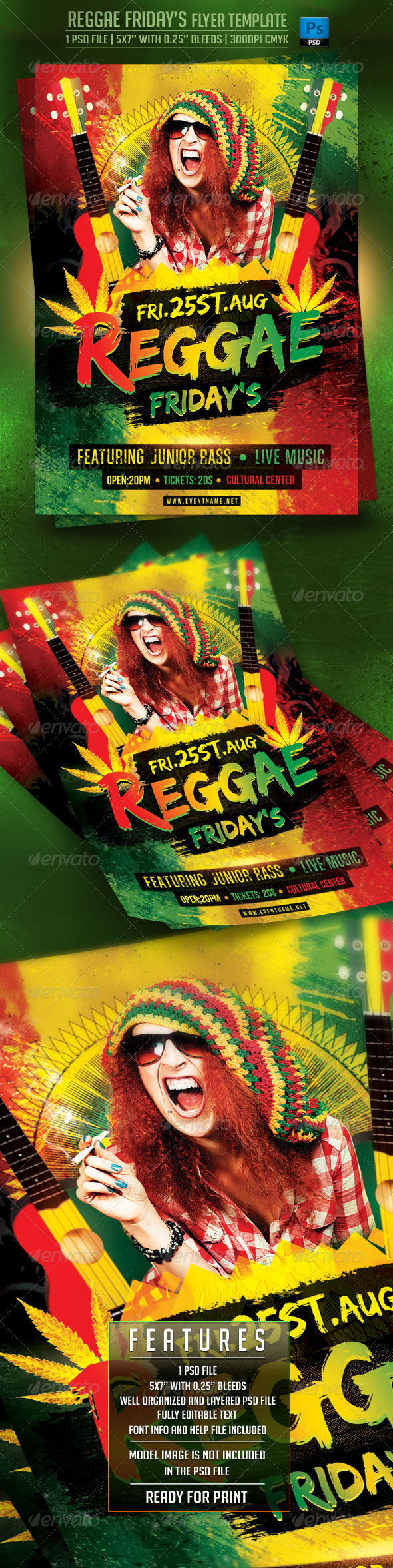 GraphicRiver Reggae Friday s Flyer Template 7843054