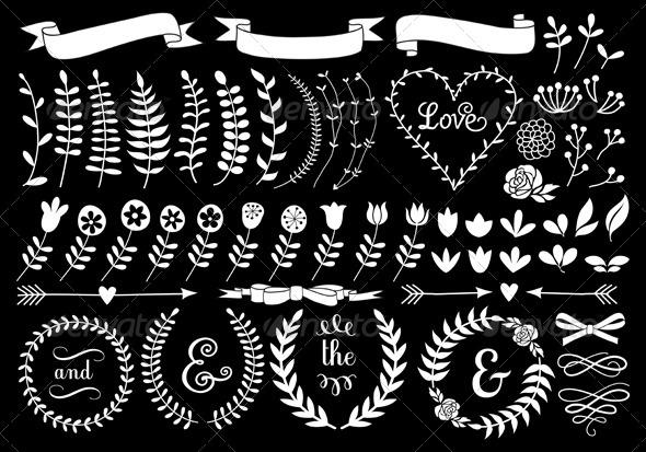 GraphicRiver Floral Laurel Wreath Set 7843090