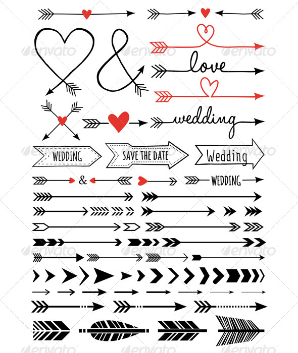 GraphicRiver Hand-drawn Wedding Arrows Set 7843093