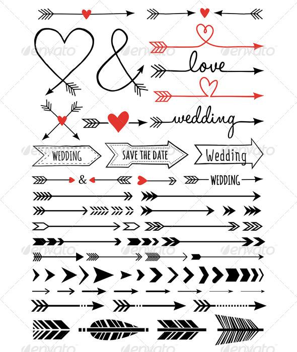 Hand-drawn Wedding Arrows Set