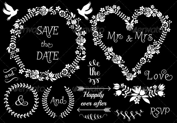 GraphicRiver Floral Wreath Wedding Frames 7843098