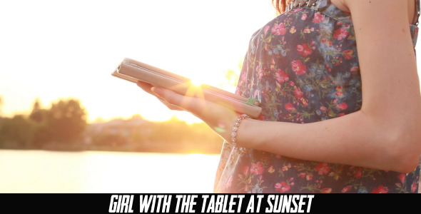 Girl With The Tablet At Sunset 4