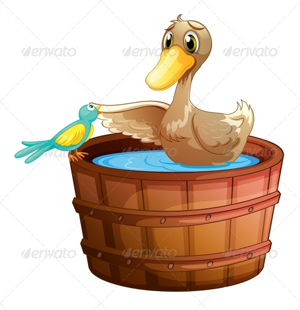GraphicRiver Duck a Bird in Bath 7844163