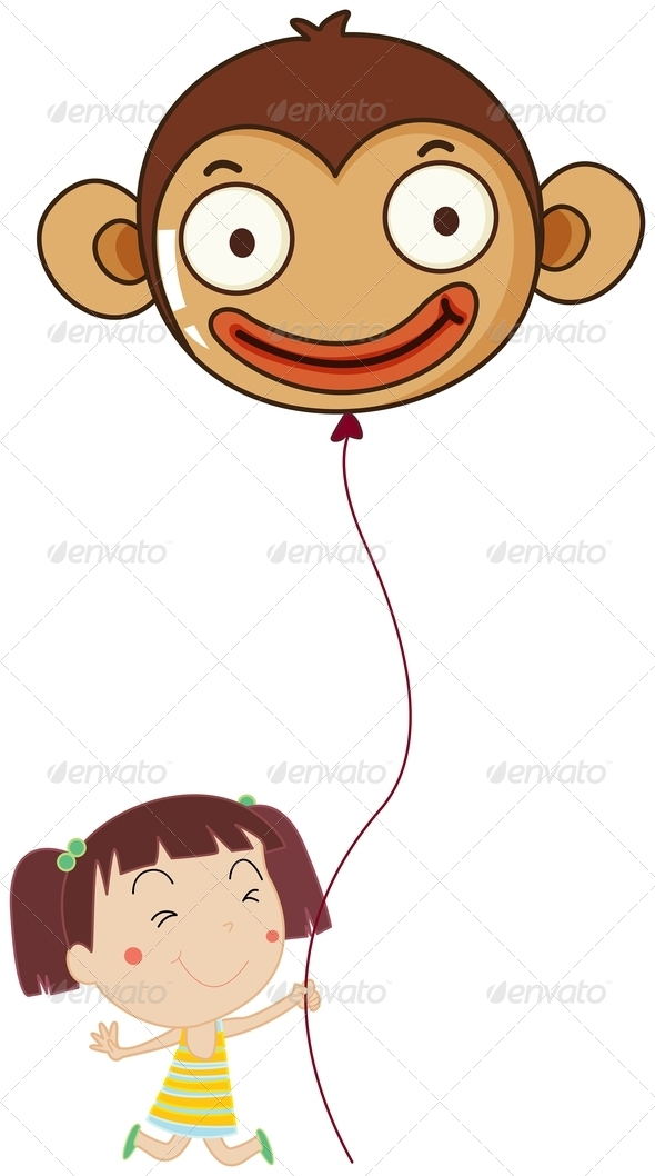 GraphicRiver A little girl holding a monkey balloon 7844188