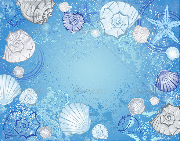 GraphicRiver Blue Background with Seashells 7752949