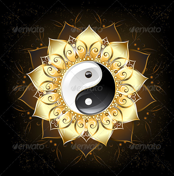GraphicRiver YinYang Yin-Yang Golden Lotus 7844257