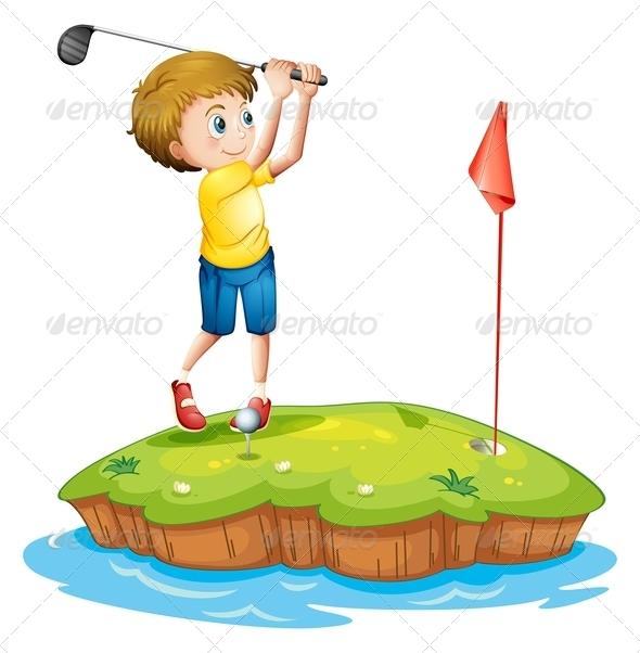 GraphicRiver Boy Playing Golf 7844266