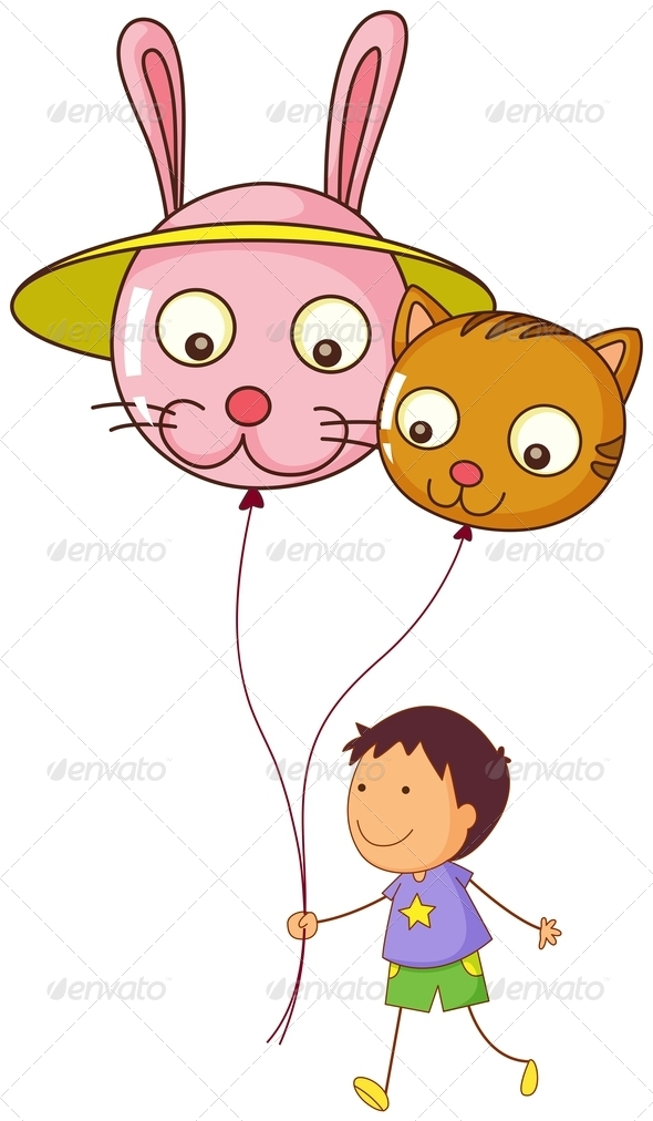 GraphicRiver A young boy holding two balloons 7844269