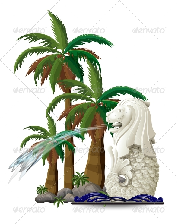 GraphicRiver The statue of Merlion near palm trees 7844270