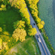 Flying Over Road and Lake - VideoHive Item for Sale