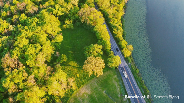 Flying Over Road and Lake