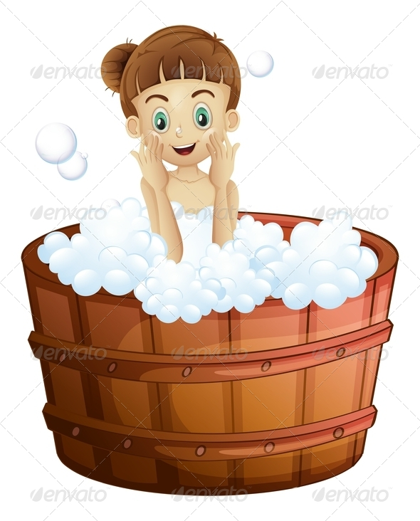 A pretty young lady taking a bath