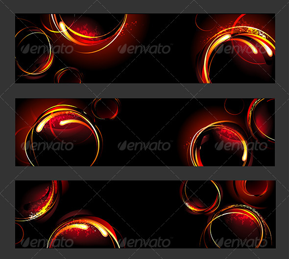 GraphicRiver Banners with Fire Circles 7844339