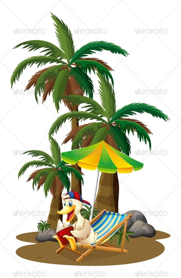 GraphicRiver Duck reading near palm trees 7844358