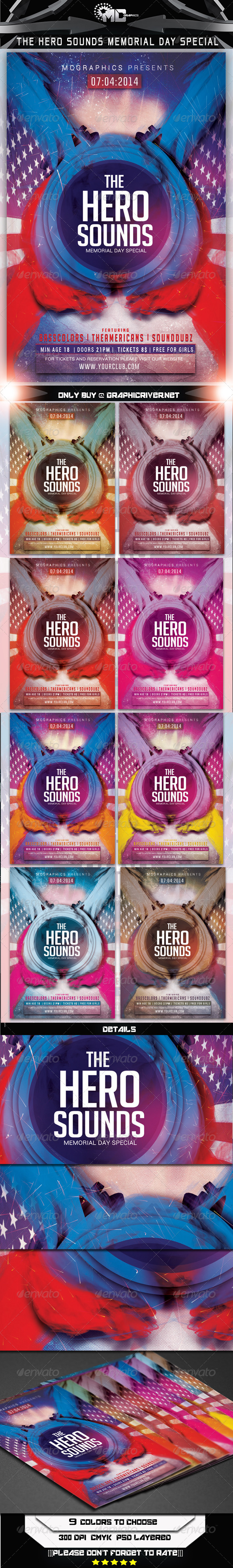 GraphicRiver The Hero Sounds Memorial Day Special Flyer Templat 7844429