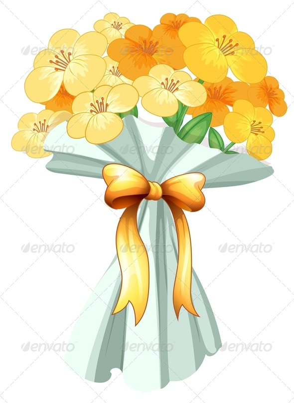 GraphicRiver Boquet of flowers with ribbon 7844464