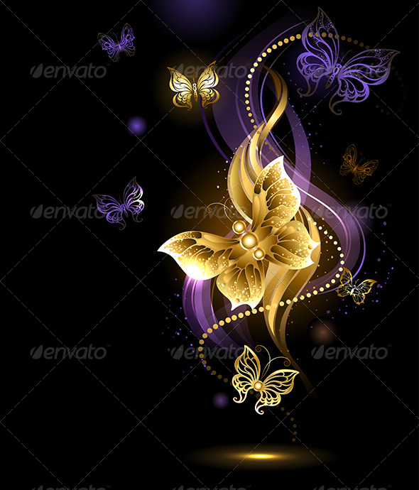 GraphicRiver Magic Gold Butterflies 7844477
