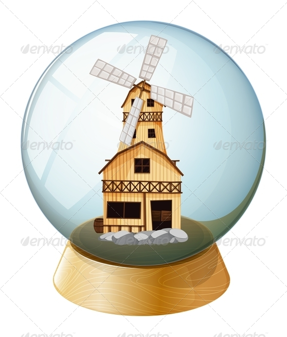 GraphicRiver A crystal ball with wind mill 7844519