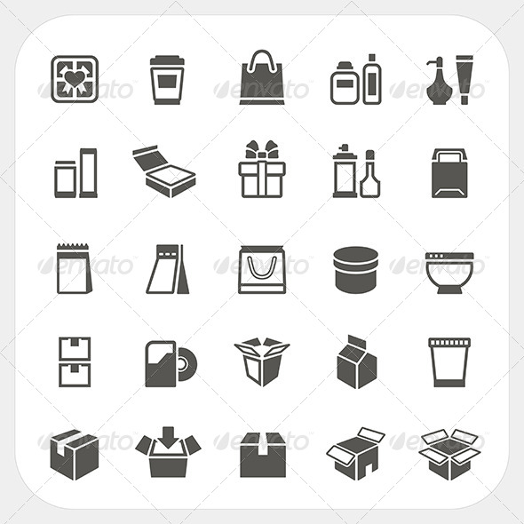 GraphicRiver Packaging Icons Set 7844532