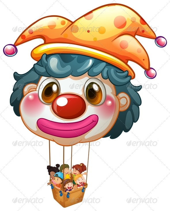 GraphicRiver Clown balloon with kids in basket 7844586
