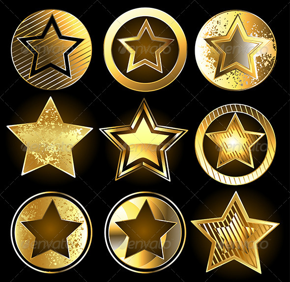 GraphicRiver Set of Military Gold Stars 7844601
