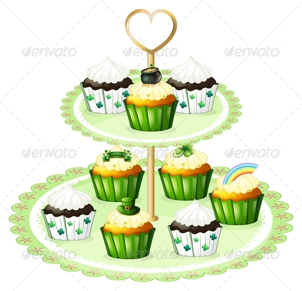 GraphicRiver Green Cupcakes on Stand 7844783