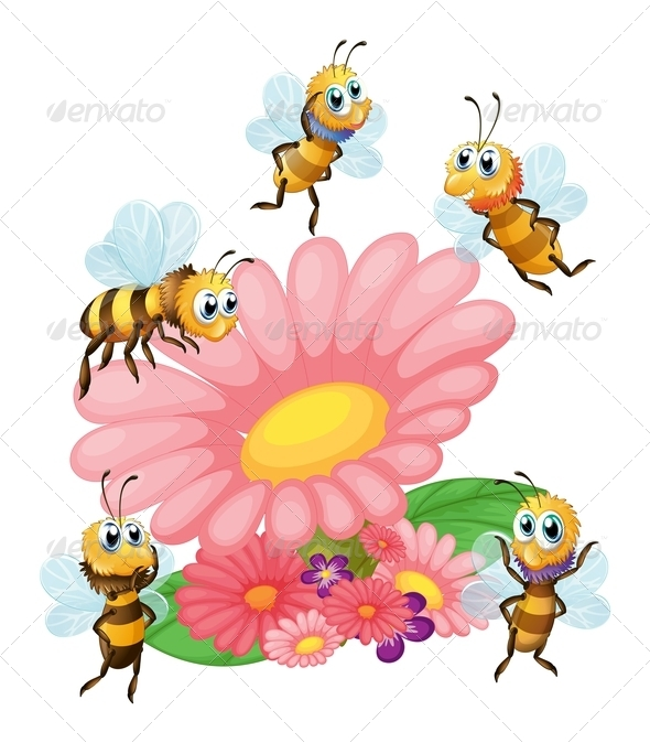 GraphicRiver Big Flower with Bees 7844850