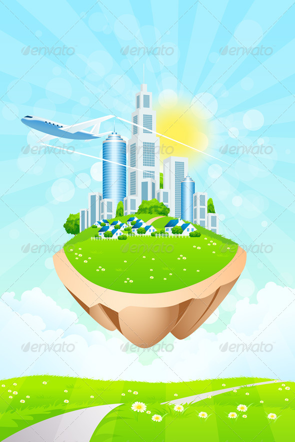 GraphicRiver Business City on Island 7844852