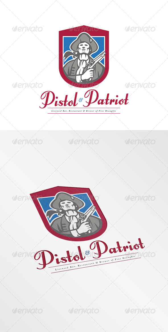 GraphicRiver Pistol and Patriot Fine Draught Brewer Logo 7844867