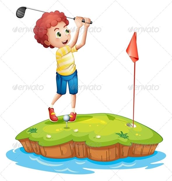 GraphicRiver Boy Playing Golf 7844895