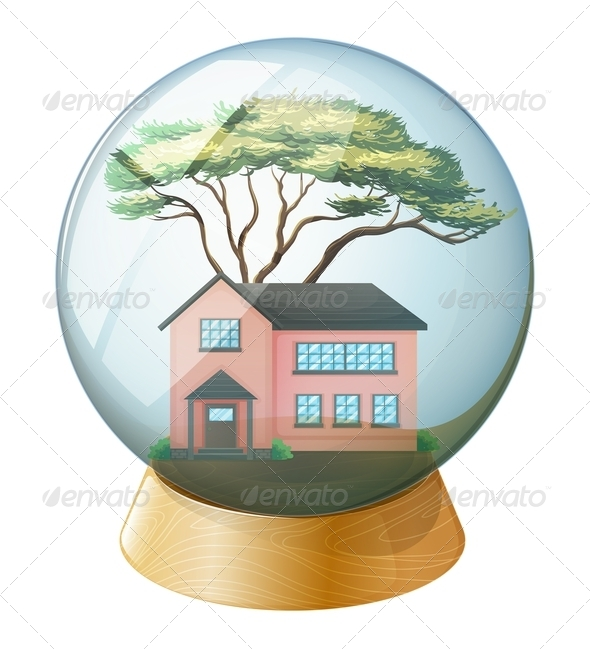 GraphicRiver Pink house inside crystal ball 7844907