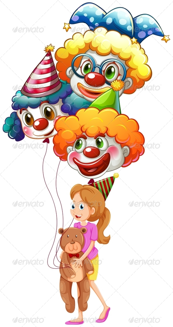 GraphicRiver Girl with clown balloons and teddy bear 7844919
