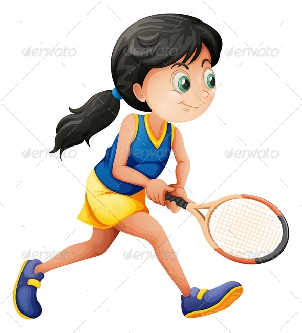 GraphicRiver Girl Playing Tennis 7845073