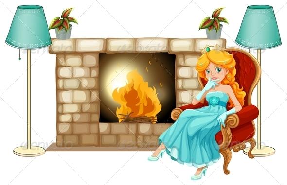 GraphicRiver Princess Near Fireplace 7845300
