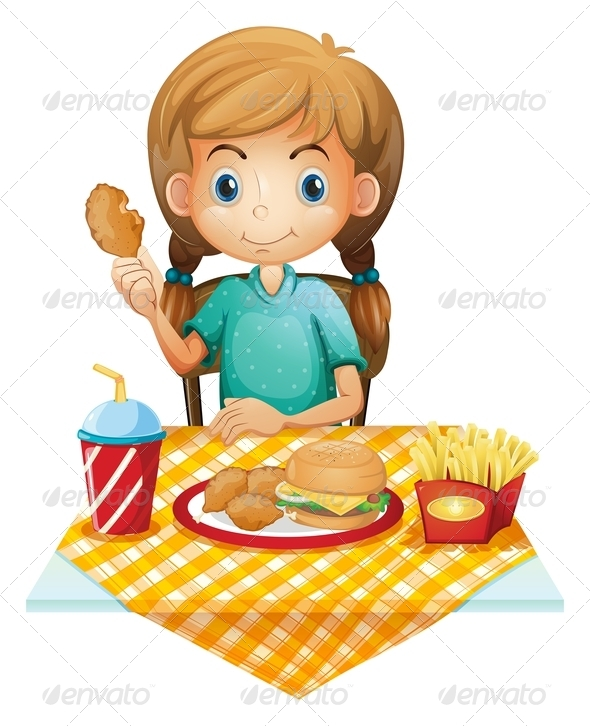 GraphicRiver Hungry Girl Eating 7845308