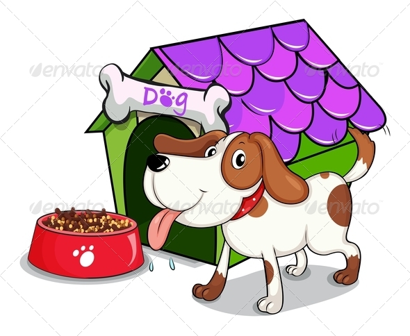 GraphicRiver Dog outside Dog House with Food 7845383