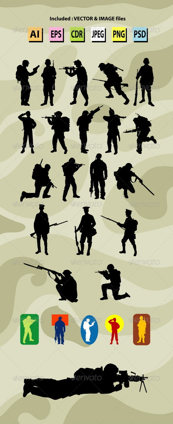 GraphicRiver Soldier Silhouettes 7845385