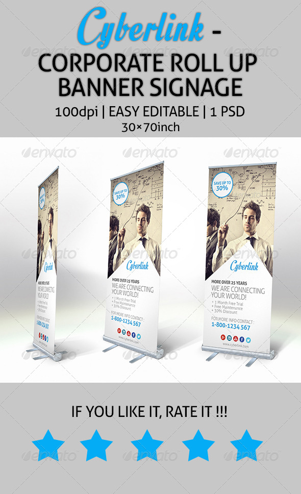 GraphicRiver Cyberlink Corporate Roll Up Banner Signage 7845444