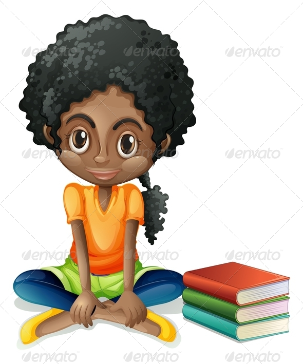 GraphicRiver Girl sitting with books 7845461