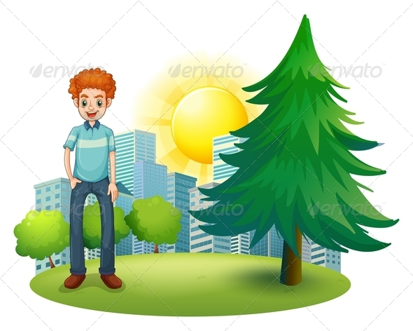GraphicRiver Smiling man beside a pine tree 7845550