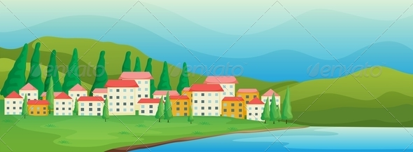 GraphicRiver Town near the river 7845793