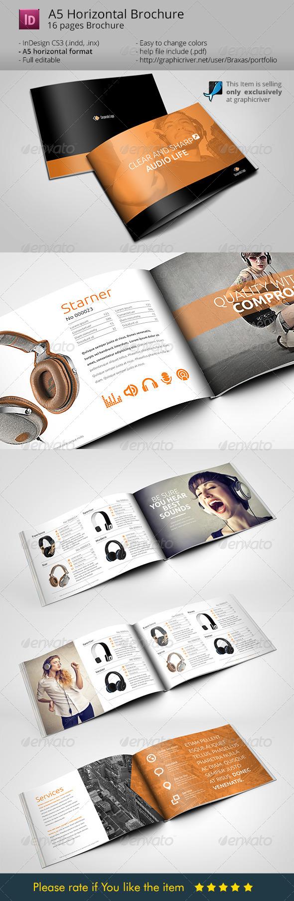 Horizontal brochure a5 audio life graphicriver for Horizontal brochure design